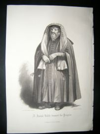 Judaica 1860 Antique Print. Jewish Rabbi dressed for Prayers